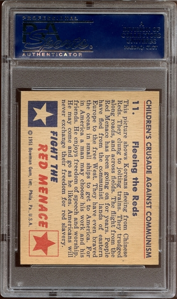 1951 Bowman Red Menace #11 Fleeing the Reds PSA 8 NM/MT