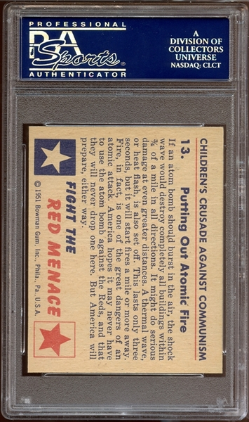1951 Bowman Red Menace #13 Putting Out Atomic Fire PSA 9 MINT