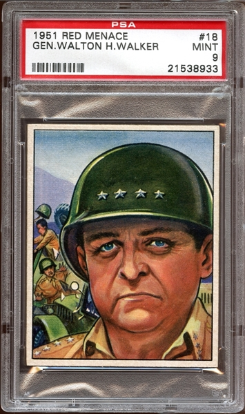 1951 Bowman Red Menace #18 General Walton H. Walker PSA 9 MINT
