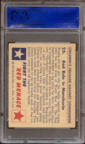 1951 Bowman Red Menace #25 Red Rule In Manchuria PSA 8 NM/MT