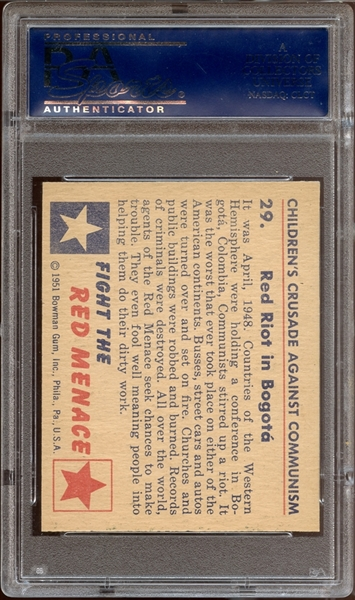 1951 Bowman Red Menace #29 Red Riot in Bogota PSA 9 MINT