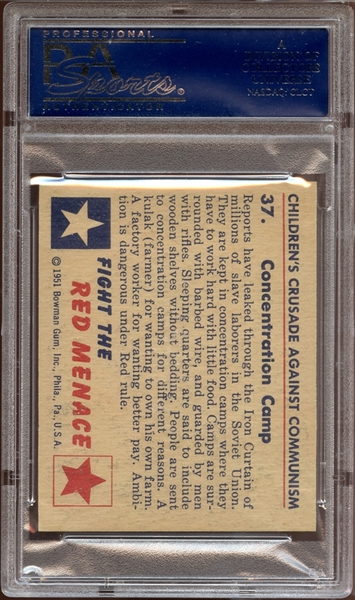 1951 Bowman Red Menace #37 Concentration Camp PSA 8 NM/MT