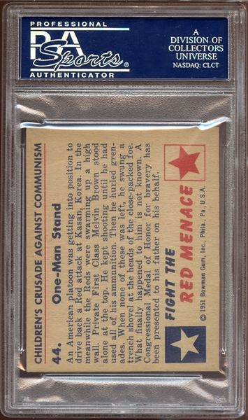 1951 Bowman Red Menace #44 One-Man Stand PSA 8 NM/MT