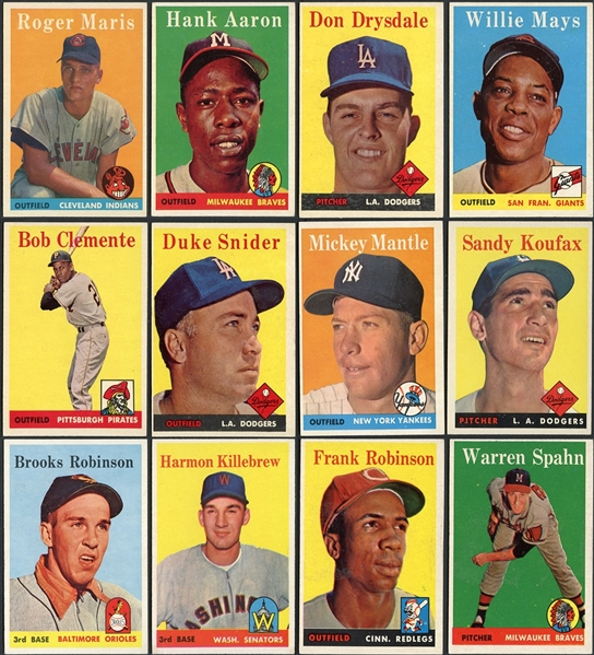 1958 Topps Partial Set (265/495) Higher Grade Plus Duplicates Including Many Stars