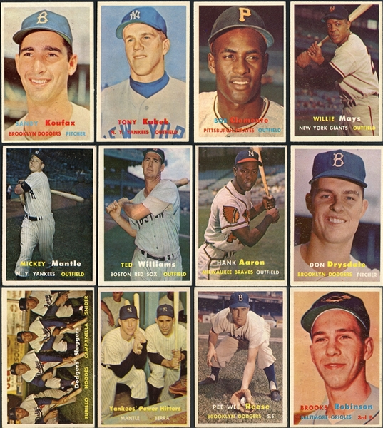 1957 Topps Partial Complete Set (210/407) Plus Duplicates, Includes Nearly Every Star Card