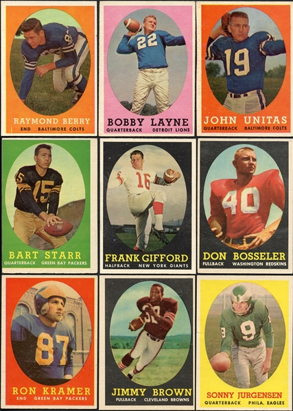1958 Topps Football Complete Set Plus (54) Duplicates Including J. Brown Rookie