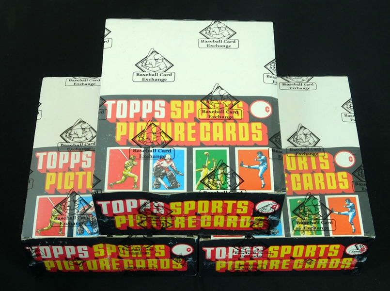 Lot of (3) 1982 Topps Football Rack Boxes with Original Case
