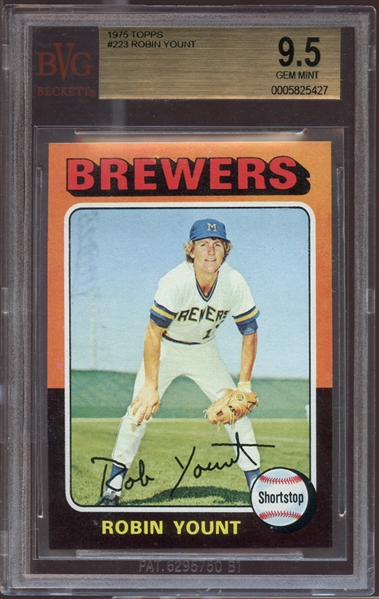 1975 Topps #223 Robin Yount BVG 9.5 GEM MINT