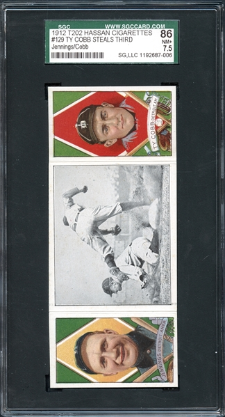 1912 T202 Hassan Cigarettes #129 Ty Cobb Steals Third SGC 86 NM+ 7.5
