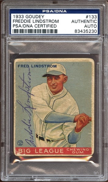 1933 Goudey #133 Freddie Lindstrom Autographed PSA/DNA AUTHENTIC