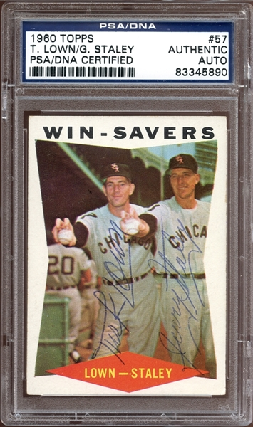 1960 Topps #57 Turk Lown/Gerry Staley Autographed PSA/DNA AUTHENTIC