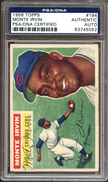 1956 Topps #194 Monte Irvin PSA/DNA Autographed PSA/DNA AUTHENTIC