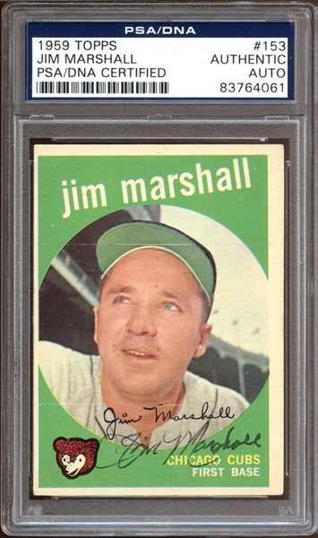 1959 Topps #153 Jim Marshall Autographed PSA/DNA AUTHENTIC