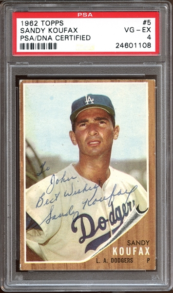 1962 Topps #5 Sandy Koufax Autographed PSA/DNA AUTHENTIC