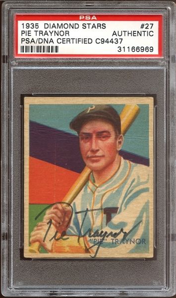 1935 Diamond Stars #27 Pie Traynor Autographed PSA/DNA AUTHENTIC