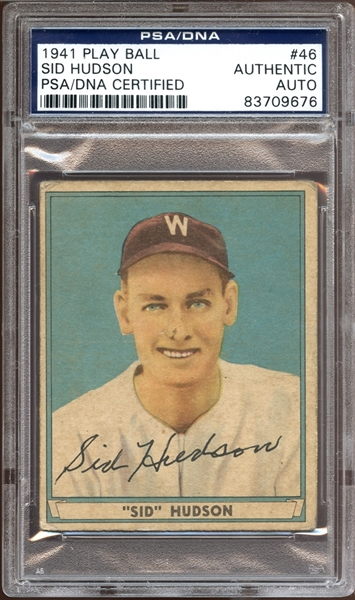 1941 Play Ball #46 Sid Hudson Autographed PSA/DNA AUTHENTIC