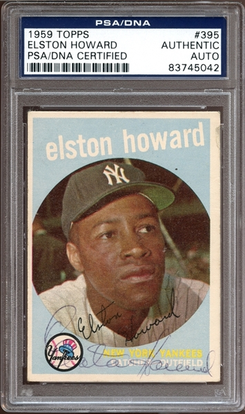 1959 Topps #395 Elston Howard Autographed PSA/DNA AUTHENTIC