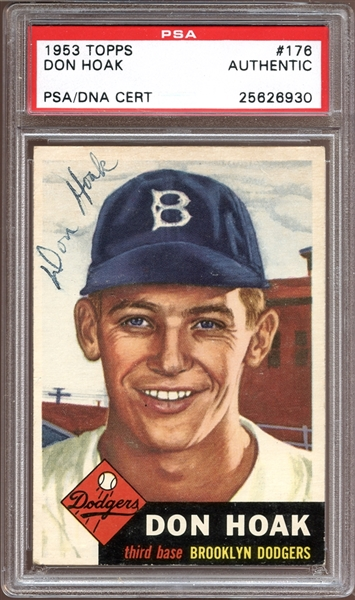 1953 Topps #176 Don Hoak Autographed PSA/DNA AUTHENTIC