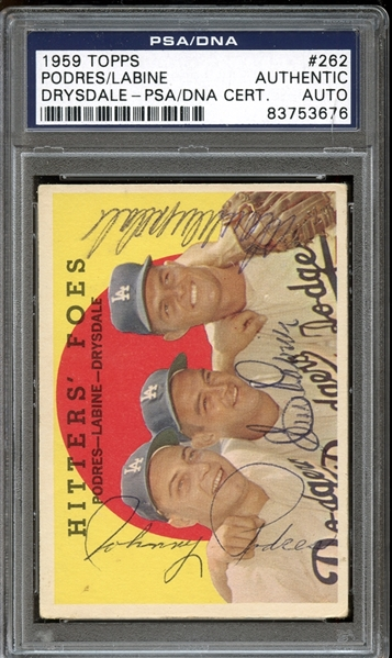 1959 Topps #262 Johnny Podres/Clem Labine/Don Drysdale Autographed PSA/DNA AUTHENTIC