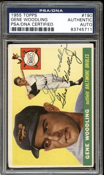 1955 Topps #190 Gene Woodling Autographed PSA/DNA AUTHENTIC