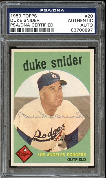 1959 Topps #20 Duke Snider Autographed PSA/DNA AUTHENTIC