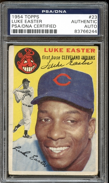1954 Topps #23 Luke Easter Autographed PSA/DNA AUTHENTIC