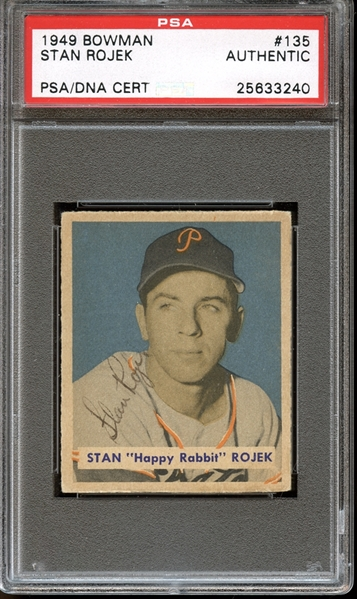 1949 Bowman #135 Stan Rojek Autographed PSA/DNA AUTHENTIC