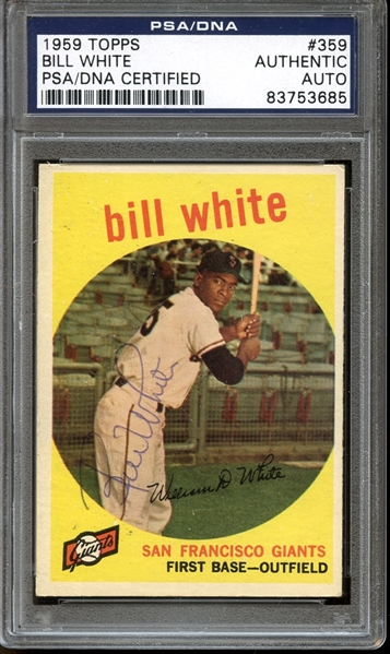 1959 Topps #359 Bill White Autographed PSA/DNA AUTHENTIC