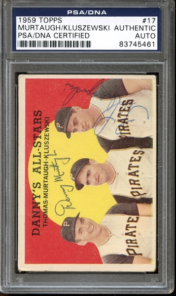 1959 Topps #17 Danny Murtaugh / Ted Kluszewski Autographed PSA/DNA AUTHENTIC