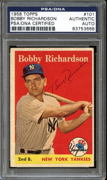 1958 Topps #101 Bobby Richardson Autographed PSA/DNA AUTHENTIC