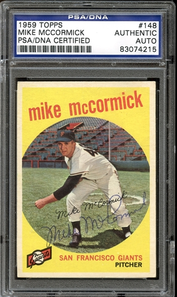 1959 Topps #148 Mike McCormick Autographed PSA/DNA AUTHENTIC