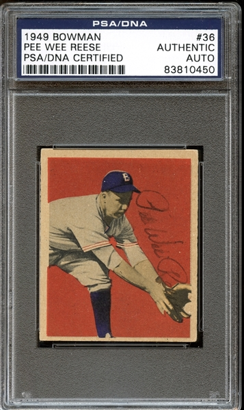1949 Bowman #36 Pee Wee Reese Autographed PSA/DNA AUTHENTIC