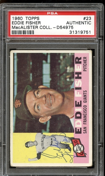 1960 Topps #23 Eddie Fisher Autographed PSA/DNA AUTHENTIC