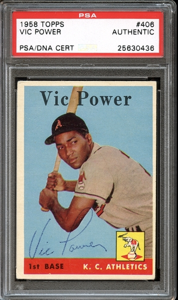 1958 Topps #406 Vic Power Autographed PSA/DNA AUTHENTIC
