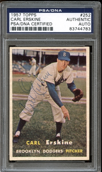 1957 Topps #252 Carl Erskine Autographed PSA/DNA AUTHENTIC