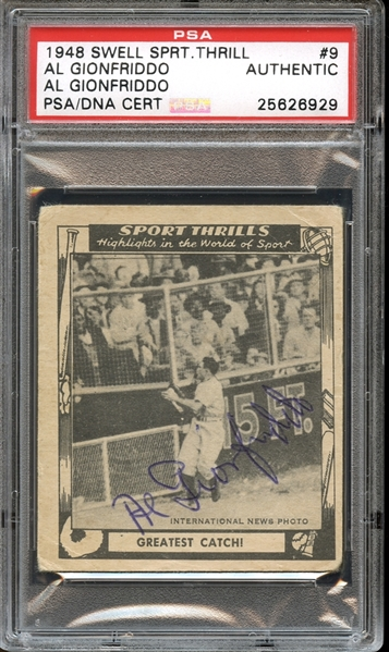 1948 Swell Sport Thrills #9 Al Gionfriddo Autographed PSA/DNA AUTHENTIC