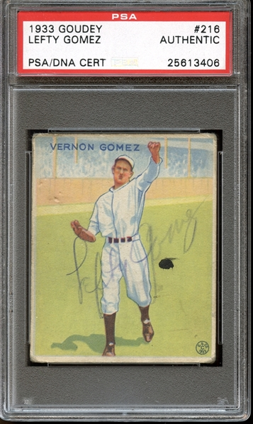 1933 Goudey #216 Lefty Gomez Autographed PSA/DNA AUTHENTIC