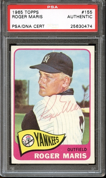 1965 Topps #155 Roger Maris Autographed PSA/DNA AUTHENTIC