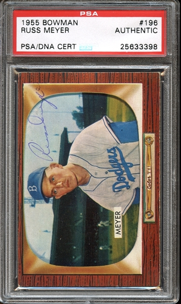 1955 Bowman #196 Russ Meyer Autographed PSA/DNA AUTHENTIC