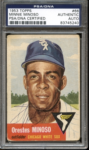 1953 Topps #66 Minnie Minoso Autographed PSA/DNA AUTHENTIC