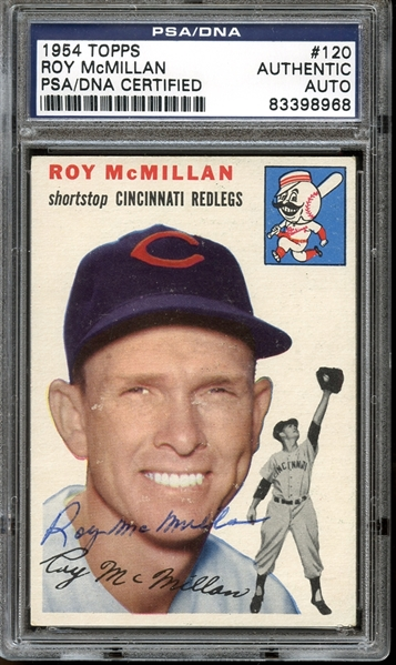 1954 Topps #120 Roy McMillan Autographed PSA/DNA AUTHENTIC