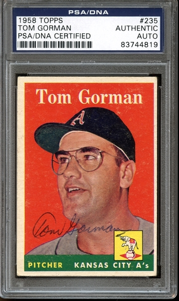1958 Topps #235 Tom Gorman Autographed PSA/DNA AUTHENTIC