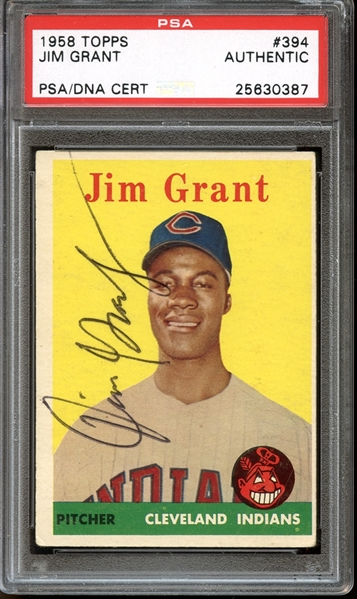 1958 Topps #394 Jim Grant Autographed PSA/DNA AUTHENTIC