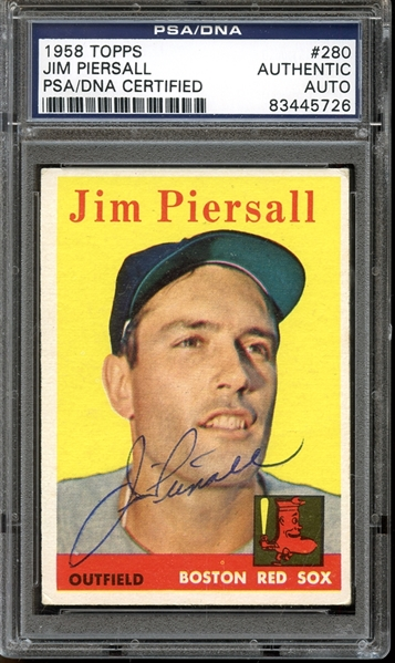 1958 Topps #280 Jim Piersall Autographed PSA/DNA AUTHENTIC