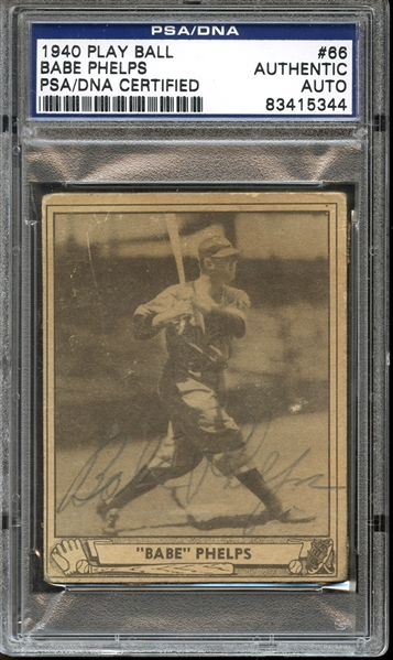 1940 Play Ball #66 Babe Phelps Autographed PSA/DNA AUTHENTIC