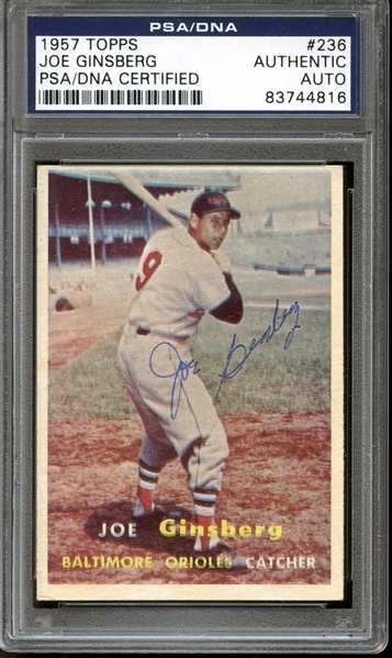 1957 Topps #236 Joe Ginsberg Autographed PSA/DNA AUTHENTIC