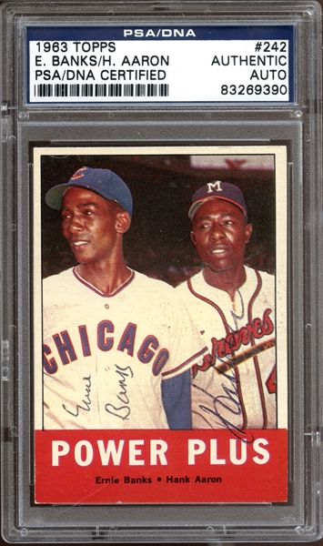 1963 Topps #242 Hank Aaron / Ernie Banks Autographed PSA/DNA AUTHENTIC