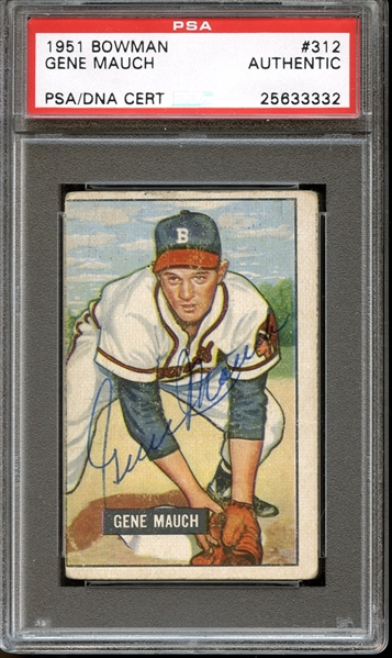 1951 Bowman #312 Gene Mauch Autographed PSA/DNA AUTHENTIC
