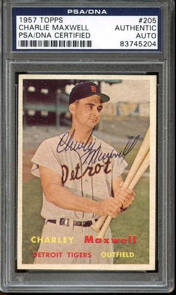 1957 Topps #205 Charlie Maxwell Autographed PSA/DNA AUTHENTIC