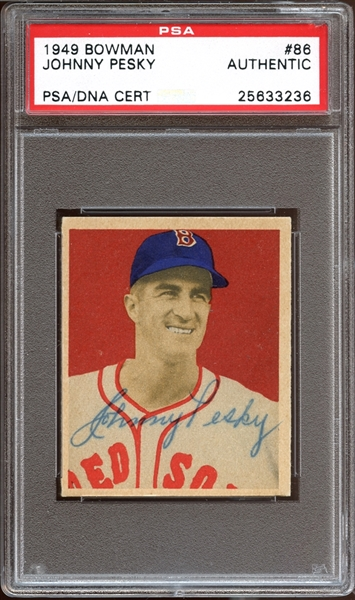 1949 Bowman #86 Johnny Pesky Autographed PSA/DNA AUTHENTIC